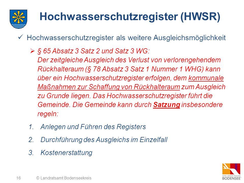 Hochwasserschutzregister (HWSR)
