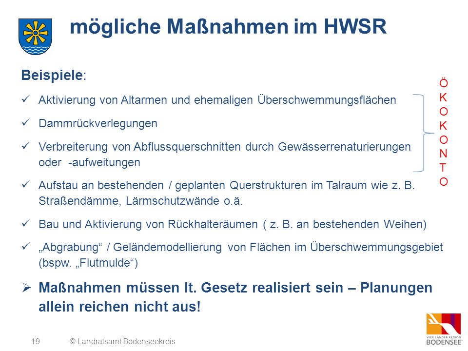 mögliche Maßnahmen im HWSR