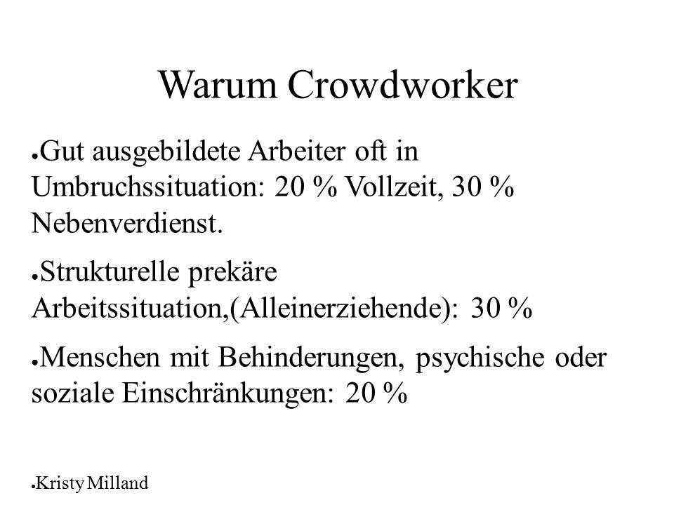 16.04.2017 Warum Crowdworker. Gut ausgebildete Arbeiter oft in Umbruchssituation: 20 % Vollzeit, 30 % Nebenverdienst.