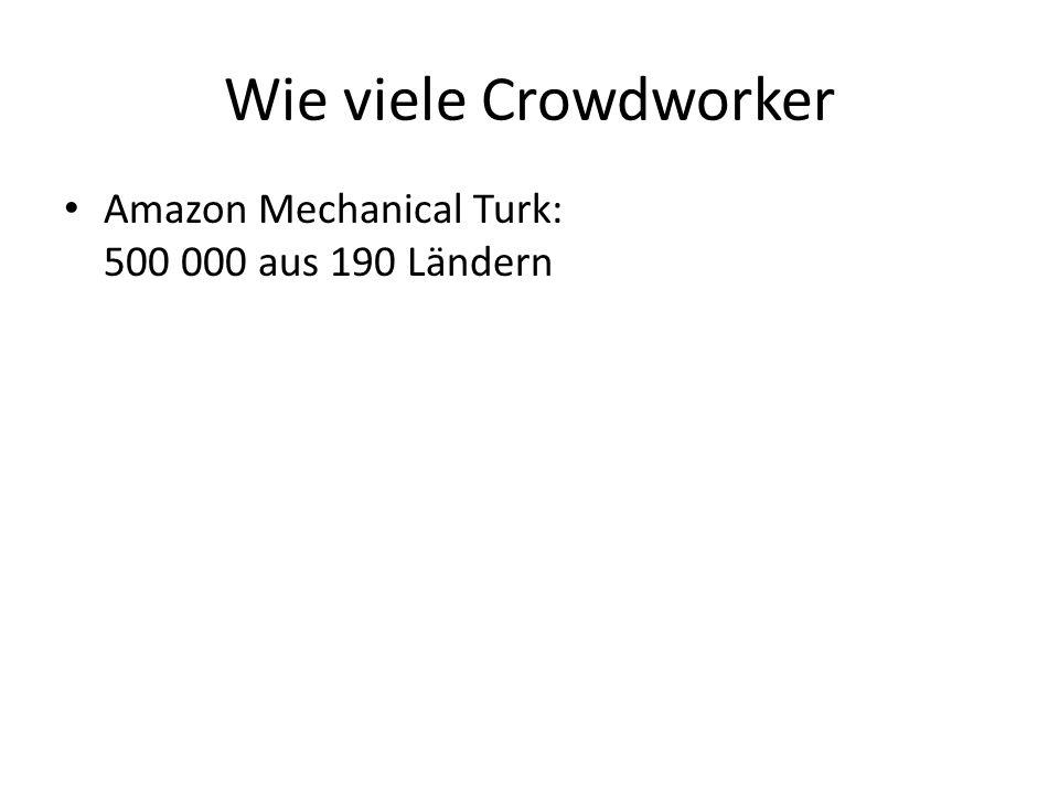 Wie viele Crowdworker Amazon Mechanical Turk: 500 000 aus 190 Ländern