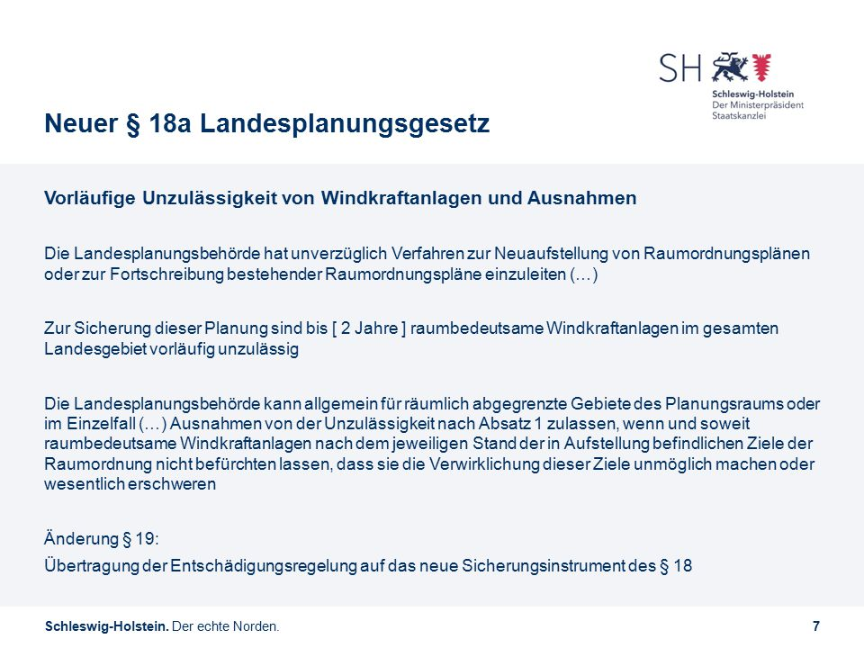 Neuer § 18a Landesplanungsgesetz