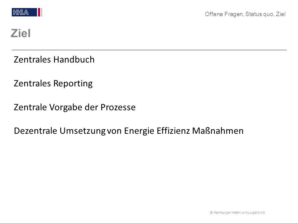 Ziel Zentrales Handbuch Zentrales Reporting