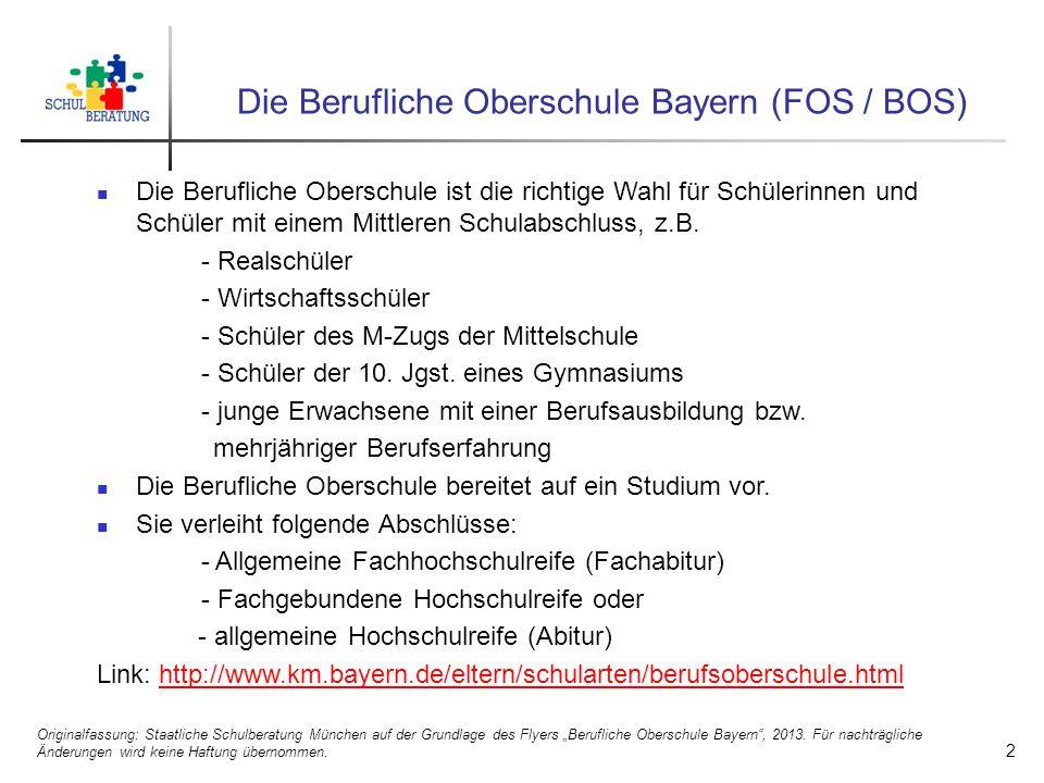 Die Berufliche Oberschule Bayern (FOS / BOS)