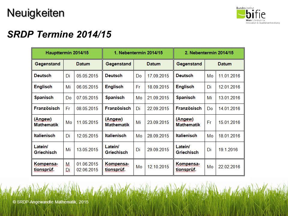 Neuigkeiten SRDP Termine 2014/15