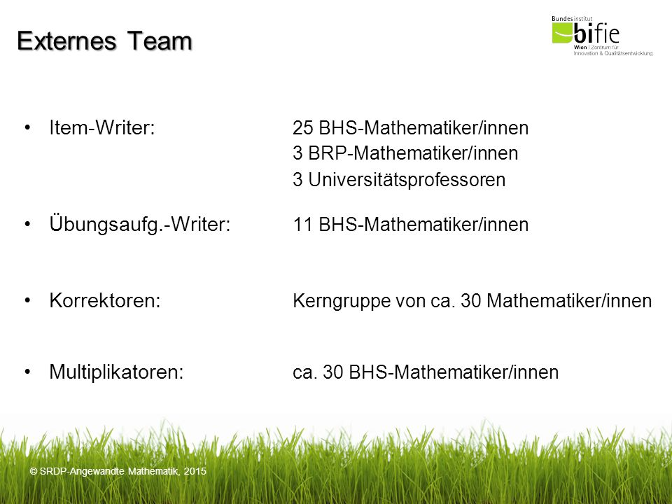 Externes Team Item-Writer: 25 BHS-Mathematiker/innen