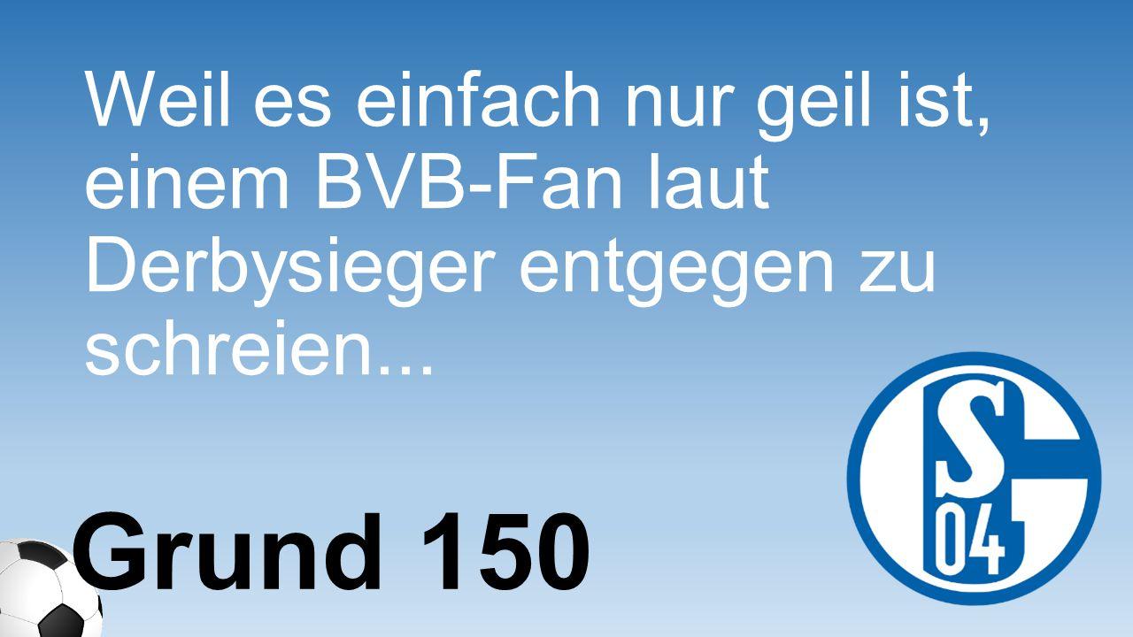 Weil es einfach nur geil ist, einem BVB-Fan laut Derbysieger entgegen zu schreien...