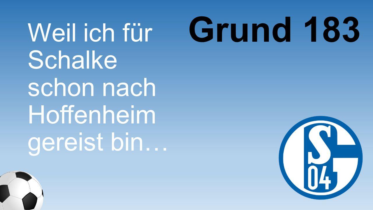 Grund 183 Weil ich für Schalke schon nach Hoffenhei m gereist bin…