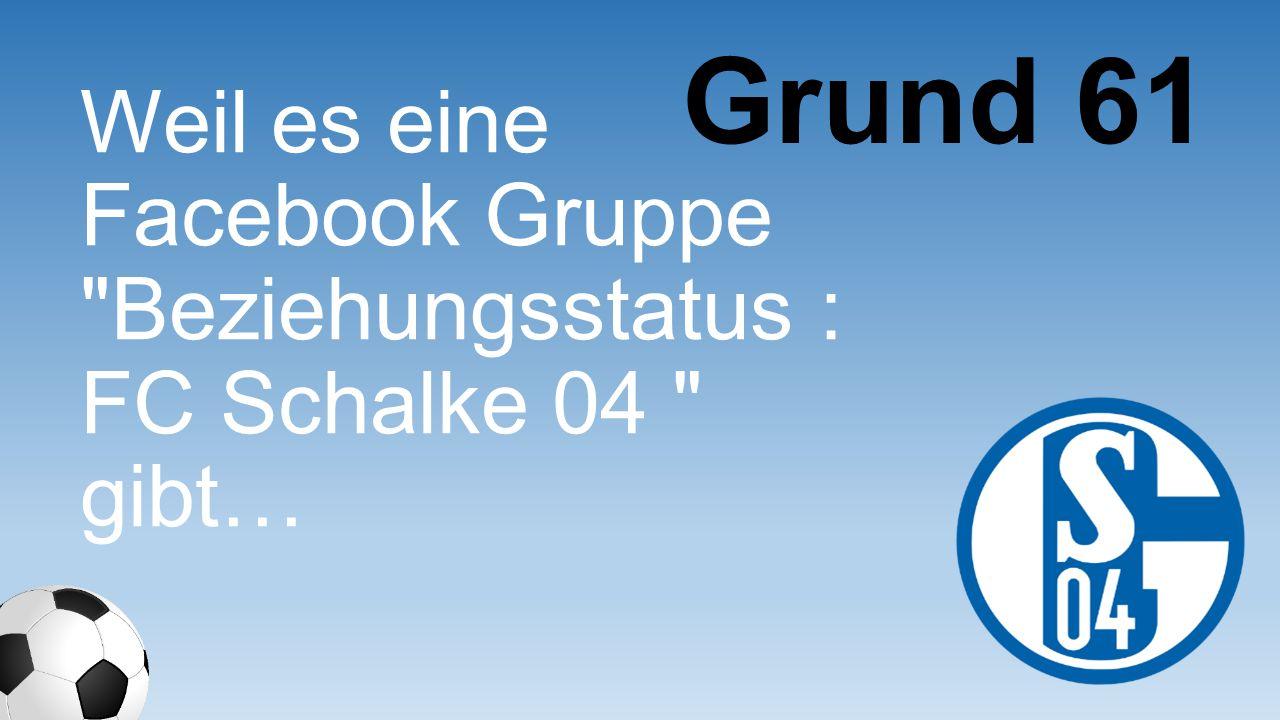 Grund 61 Weil es eine Facebook Gruppe Beziehungssta tus : FC Schalke 04 gibt…