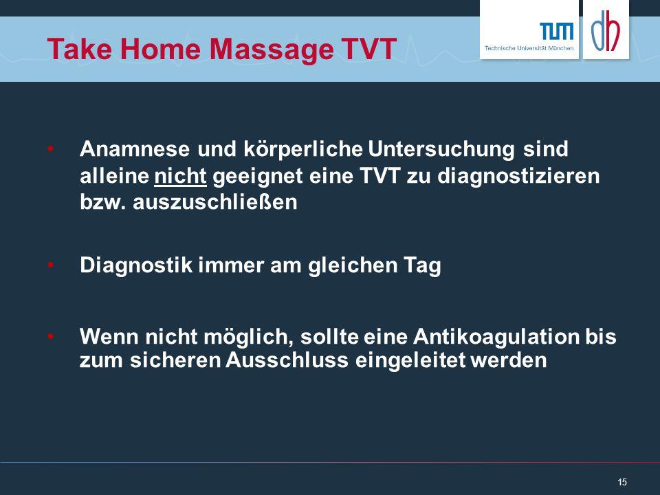 Take Home Massage TVT Anamnese und körperliche Untersuchung sind alleine nicht geeignet eine TVT zu diagnostizieren bzw. auszuschließen.