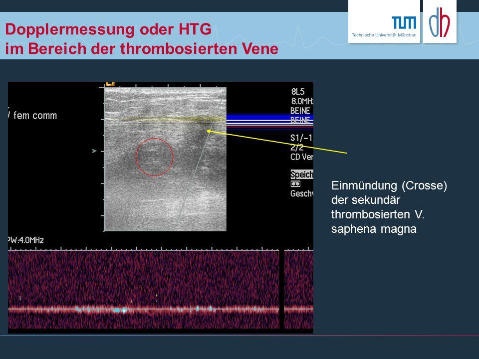 Dopplermessung oder HTG im Bereich der thrombosierten Vene