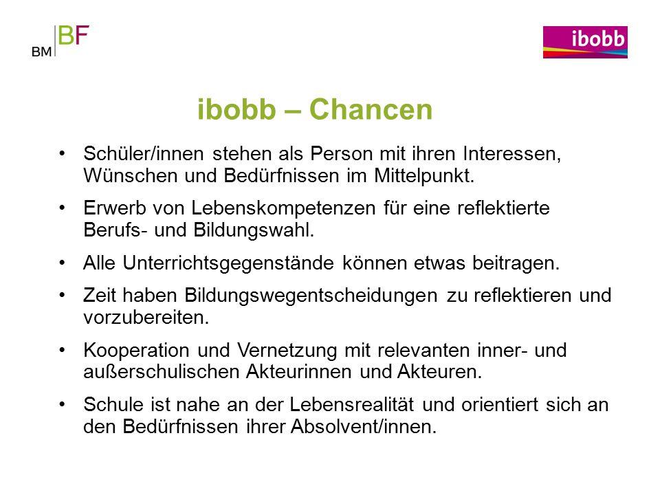 ibobb – Chancen Schüler/innen stehen als Person mit ihren Interessen, Wünschen und Bedürfnissen im Mittelpunkt.