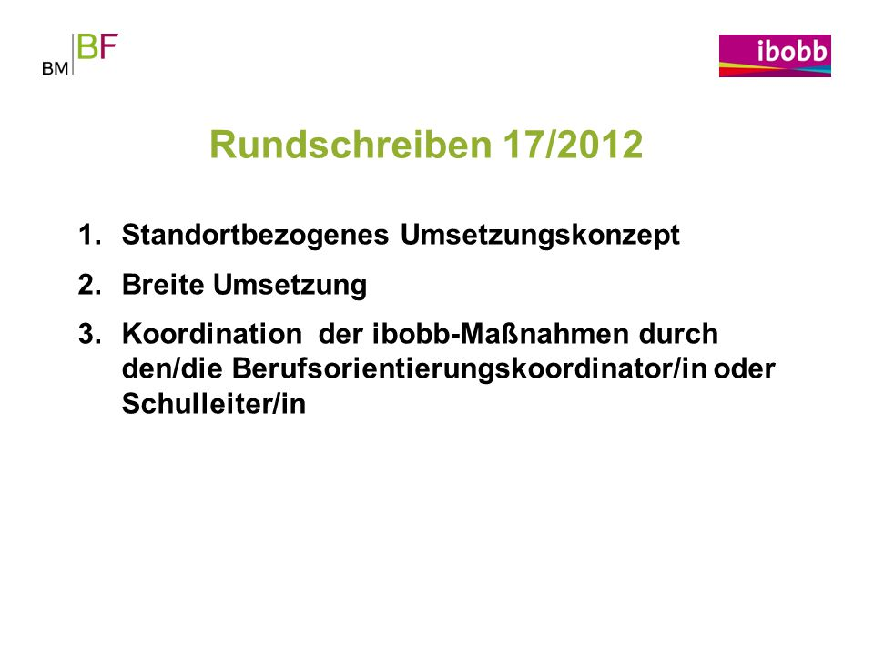 Rundschreiben 17/2012 Standortbezogenes Umsetzungskonzept
