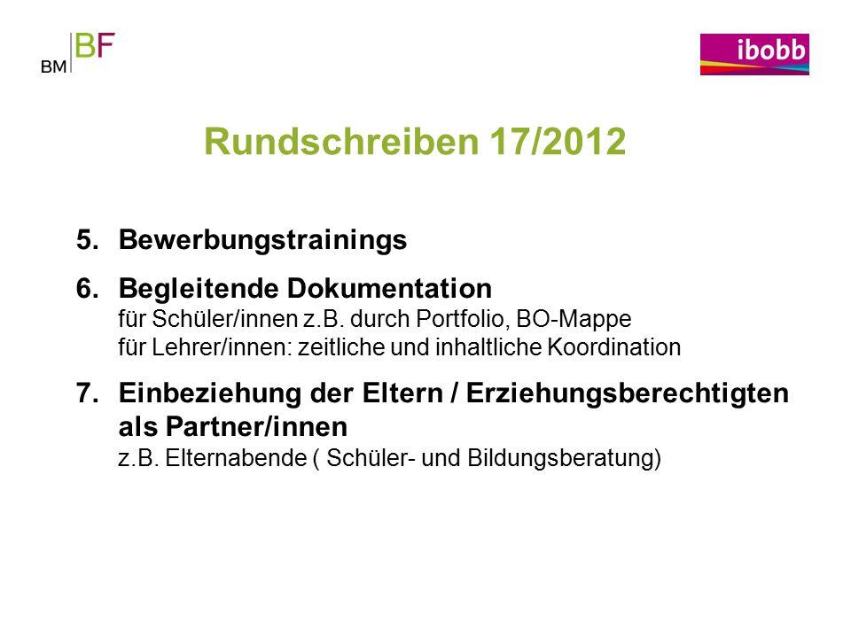 Rundschreiben 17/2012 Bewerbungstrainings