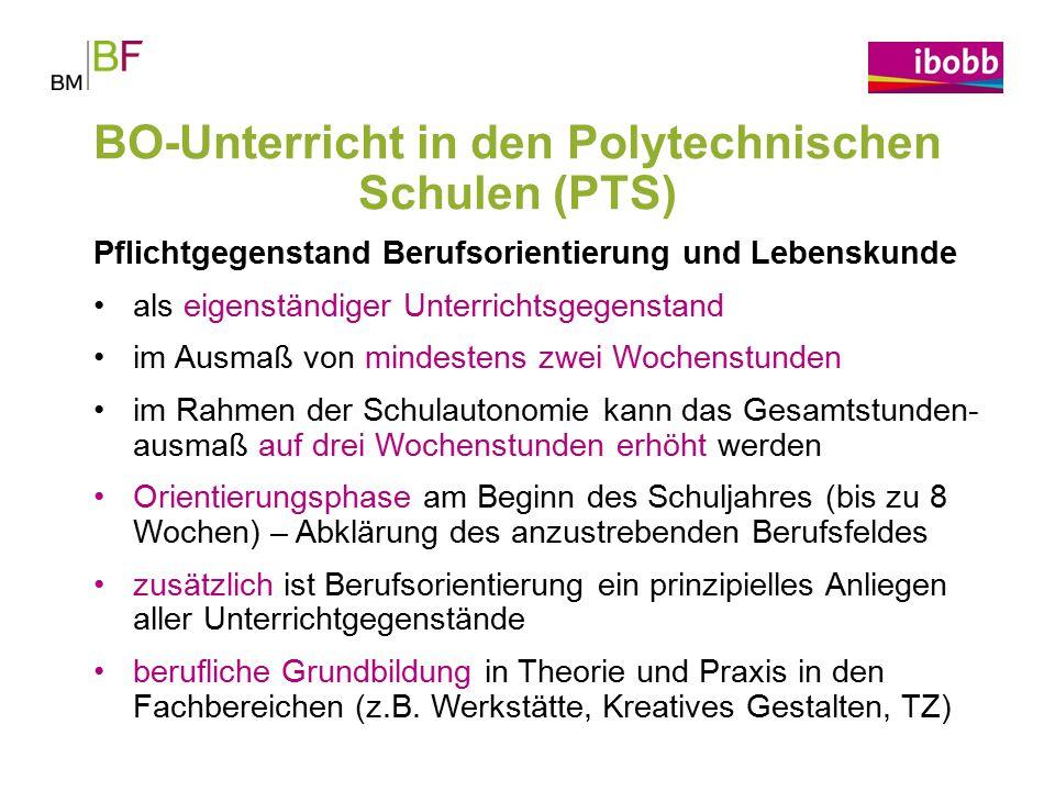 BO-Unterricht in den Polytechnischen Schulen (PTS)