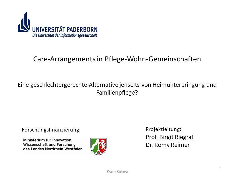 Care-Arrangements in Pflege-Wohn-Gemeinschaften Eine geschlechtergerechte Alternative jenseits von Heimunterbringung und Familienpflege