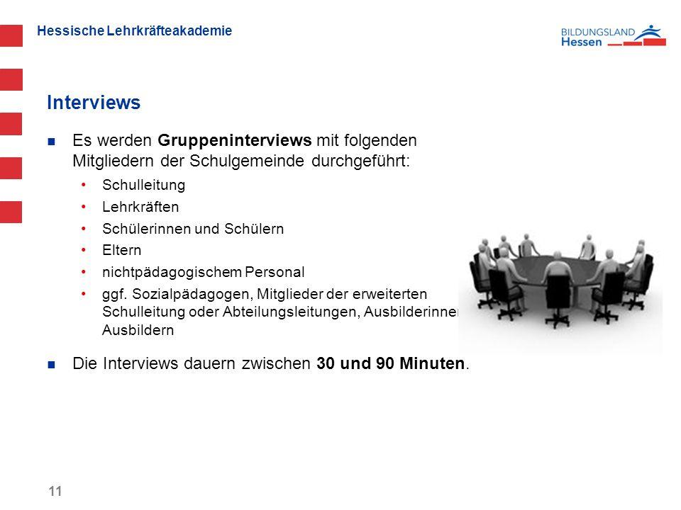 Interviews Es werden Gruppeninterviews mit folgenden Mitgliedern der Schulgemeinde durchgeführt: Schulleitung.