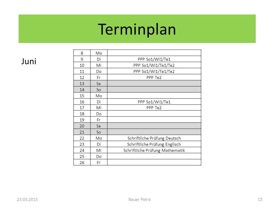 Terminplan Juni 8 Mo 9 Di PPP So1/Wi1/Te1 10 Mi PPP So1/Wi1/Te1/Te2 11