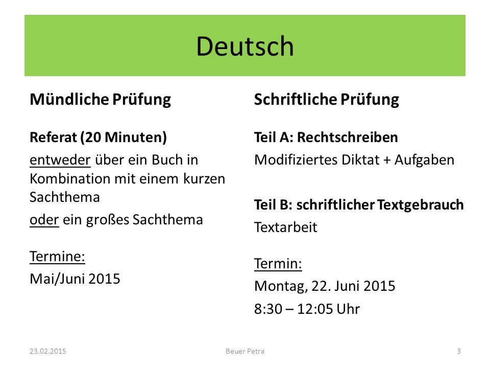 Deutsch Mündliche Prüfung Schriftliche Prüfung Referat (20 Minuten)