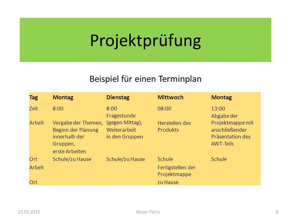 Beispiel für einen Terminplan