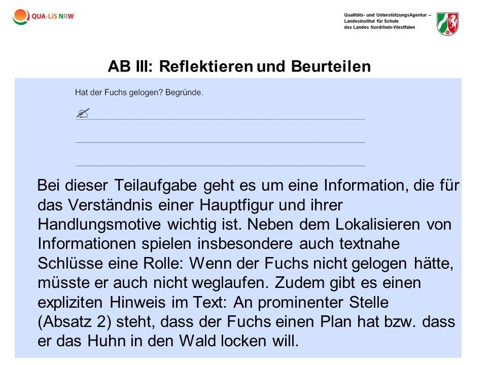 AB III: Reflektieren und Beurteilen