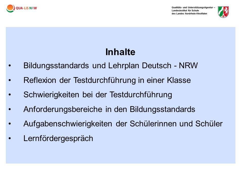 Inhalte Bildungsstandards und Lehrplan Deutsch - NRW
