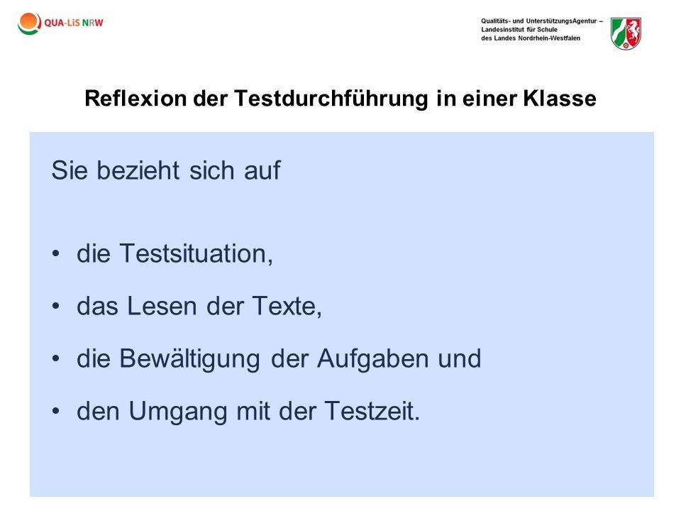 Reflexion der Testdurchführung in einer Klasse
