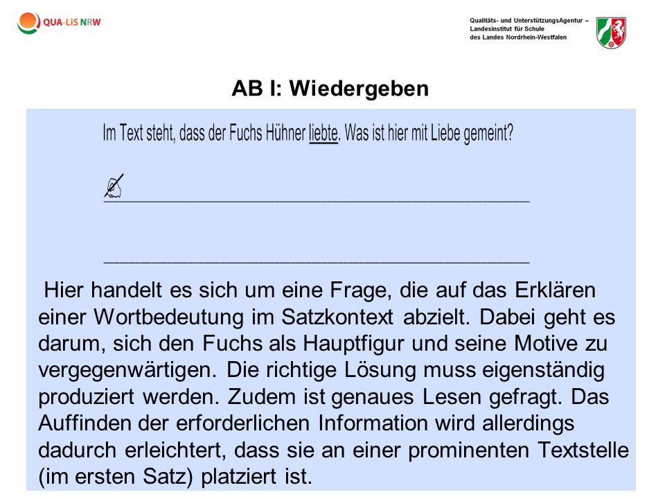 AB I: Wiedergeben