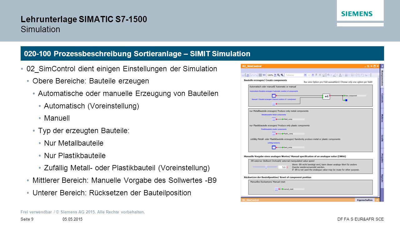 Lehrunterlage SIMATIC S7-1500 Simulation