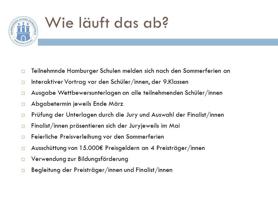 Wie läuft das ab Teilnehmnde Hamburger Schulen melden sich nach den Sommerferien an. Interaktiver Vortrag vor den Schüler/innen, der 9.Klassen.