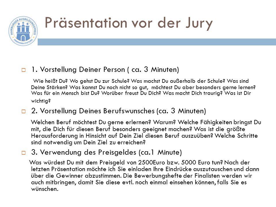 Präsentation vor der Jury