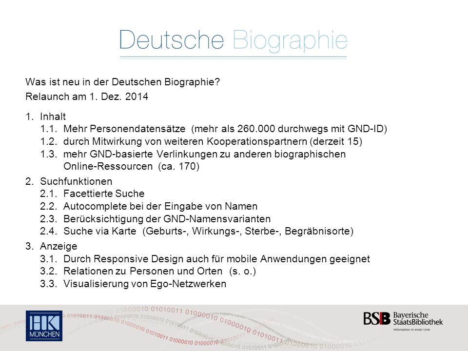 Was ist neu in der Deutschen Biographie Relaunch am 1. Dez. 2014