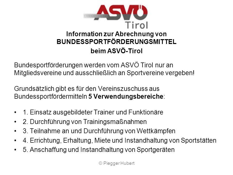 Information zur Abrechnung von BUNDESSPORTFÖRDERUNGSMITTEL