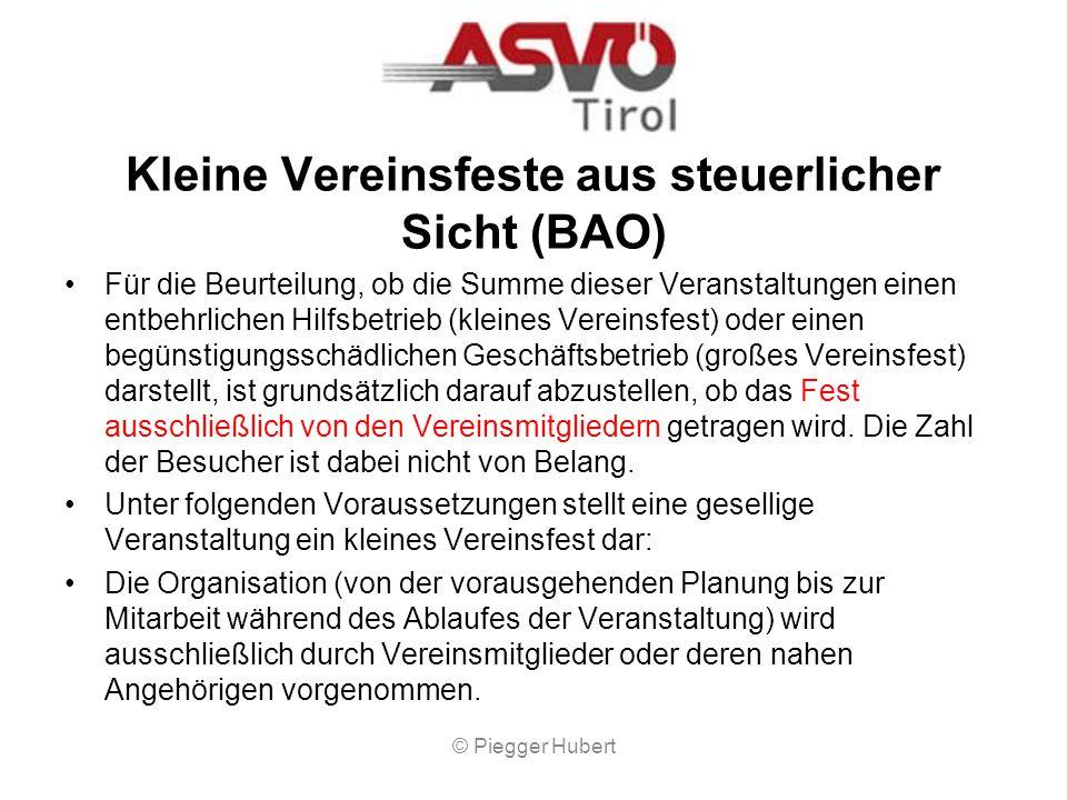 Kleine Vereinsfeste aus steuerlicher Sicht (BAO)