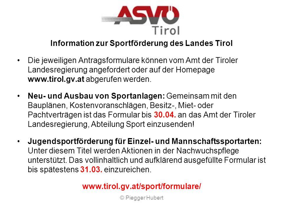 Information zur Sportförderung des Landes Tirol