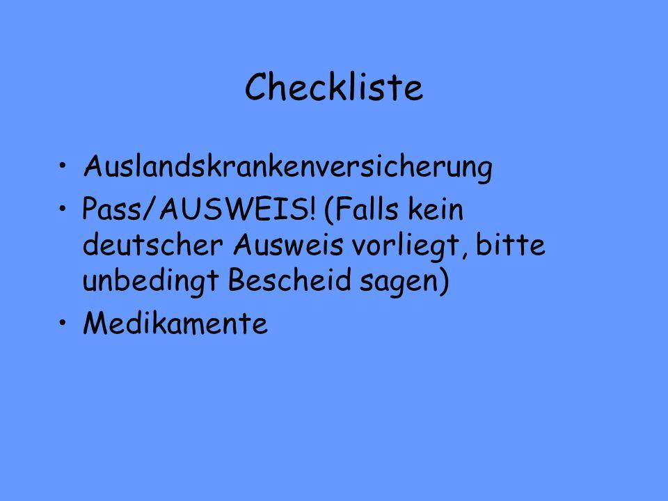 Checkliste Auslandskrankenversicherung