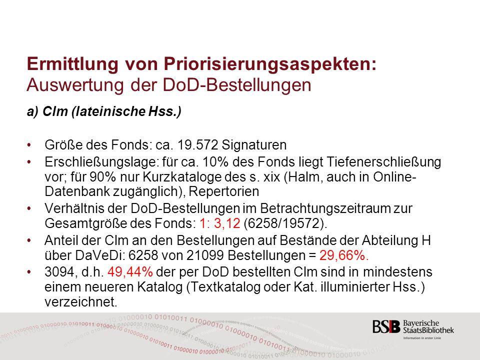 Ermittlung von Priorisierungsaspekten: Auswertung der DoD-Bestellungen