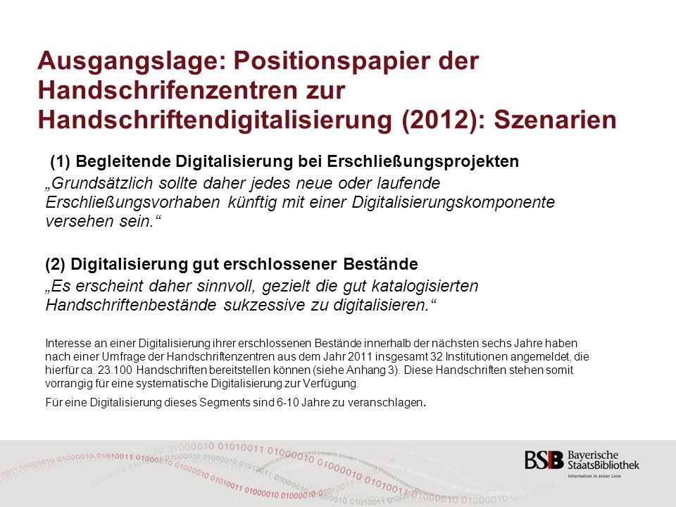 Ausgangslage: Positionspapier der Handschrifenzentren zur Handschriftendigitalisierung (2012): Szenarien