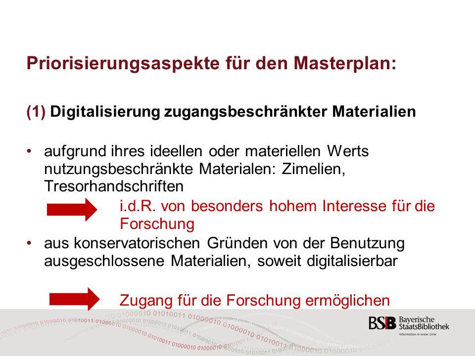 Priorisierungsaspekte für den Masterplan: