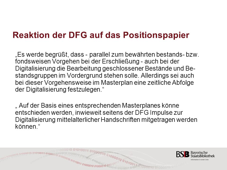 Reaktion der DFG auf das Positionspapier