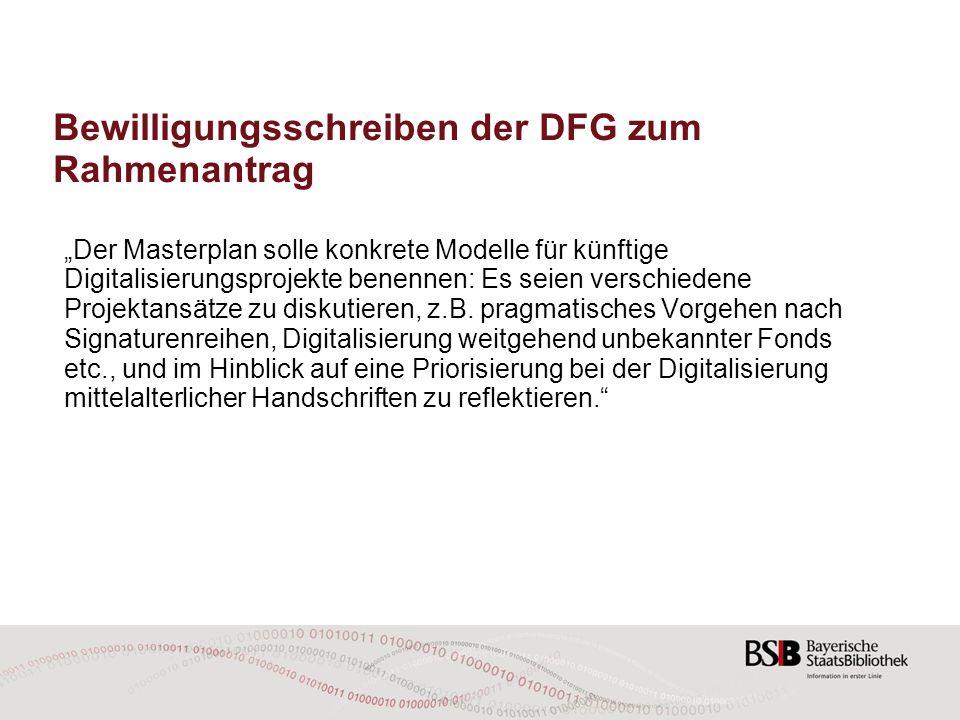 Bewilligungsschreiben der DFG zum Rahmenantrag