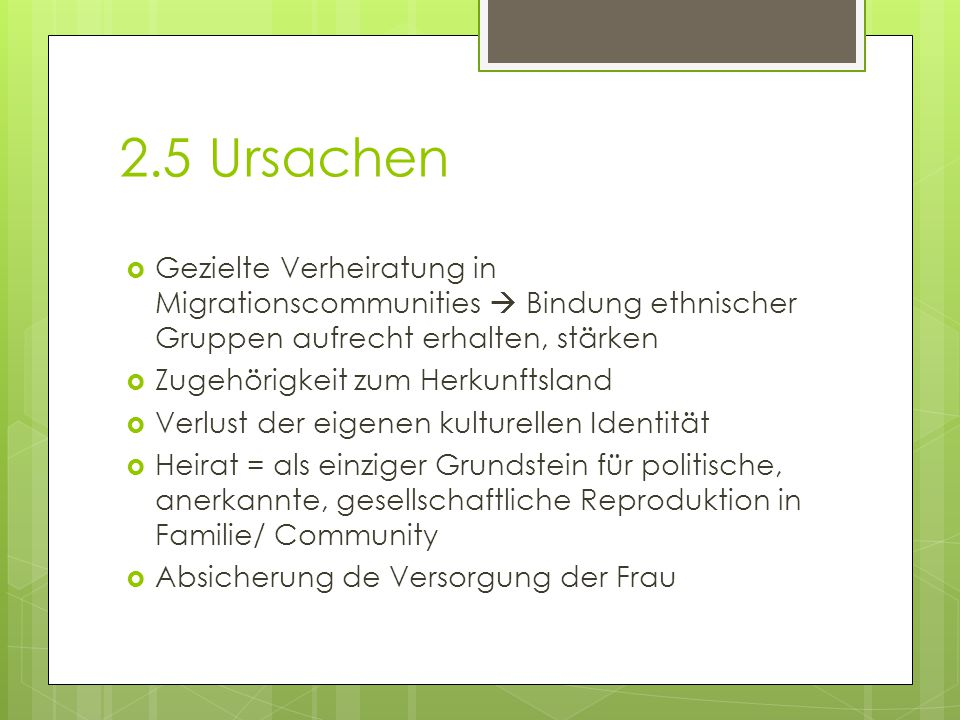 2.5 Ursachen Gezielte Verheiratung in Migrationscommunities  Bindung ethnischer Gruppen aufrecht erhalten, stärken.