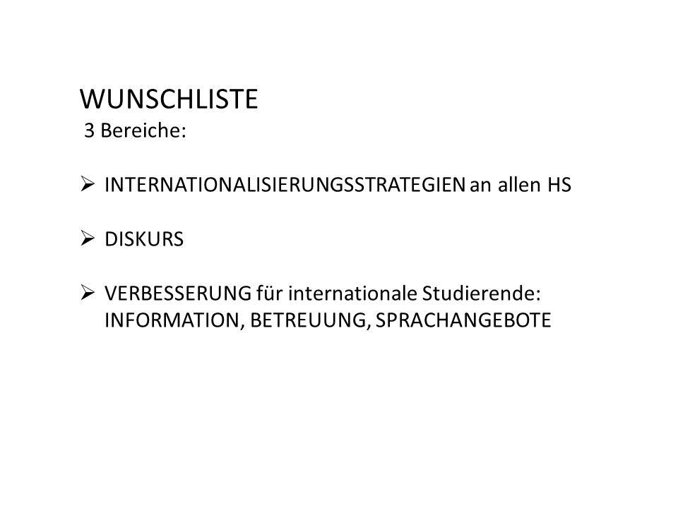 WUNSCHLISTE 3 Bereiche: INTERNATIONALISIERUNGSSTRATEGIEN an allen HS