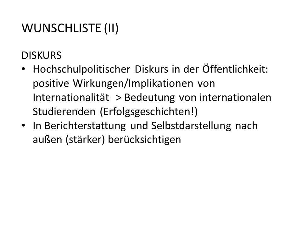WUNSCHLISTE (II) DISKURS