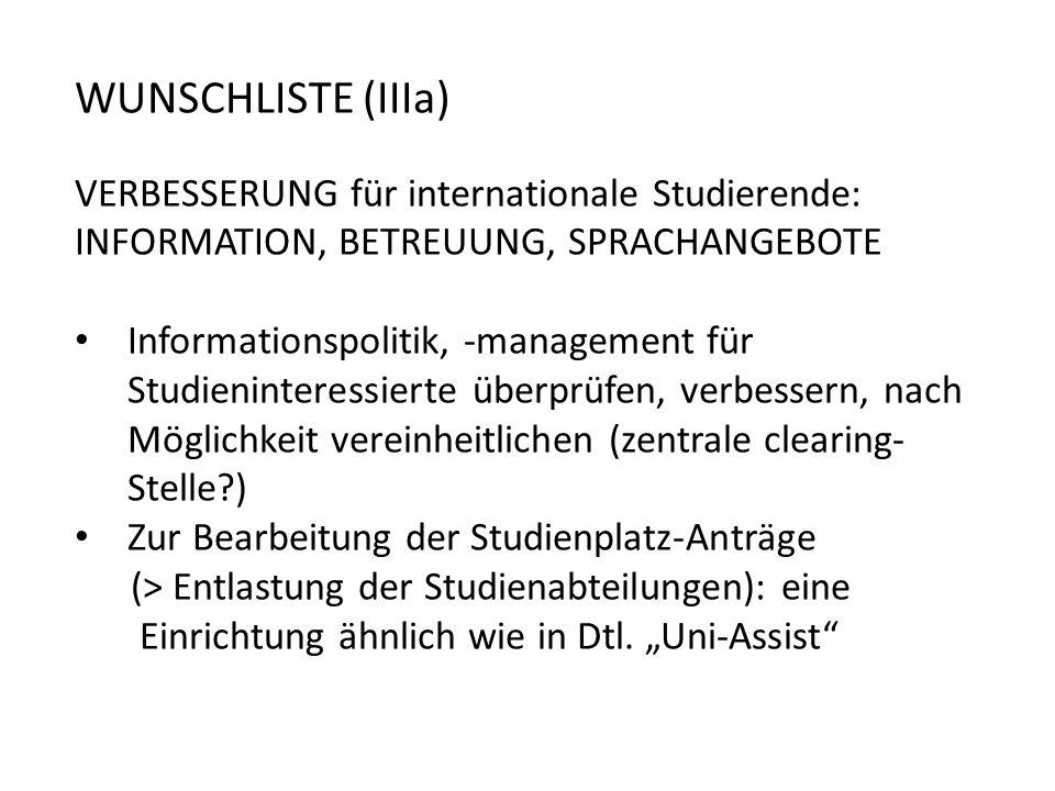 WUNSCHLISTE (IIIa) VERBESSERUNG für internationale Studierende: INFORMATION, BETREUUNG, SPRACHANGEBOTE.