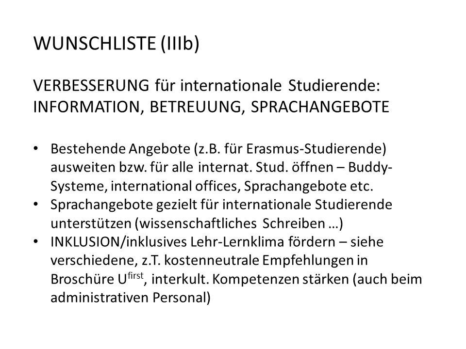 WUNSCHLISTE (IIIb) VERBESSERUNG für internationale Studierende: INFORMATION, BETREUUNG, SPRACHANGEBOTE.