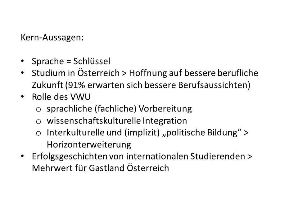 Kern-Aussagen: Sprache = Schlüssel. Studium in Österreich > Hoffnung auf bessere berufliche Zukunft (91% erwarten sich bessere Berufsaussichten)