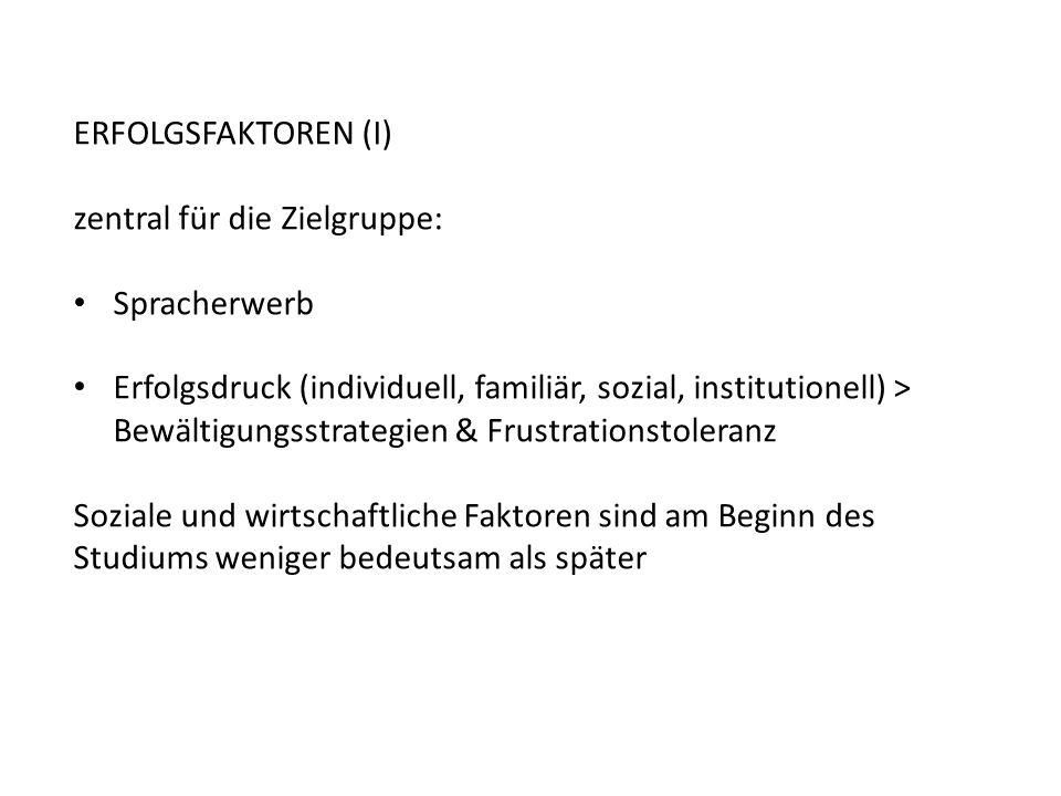 ERFOLGSFAKTOREN (I) zentral für die Zielgruppe: Spracherwerb.