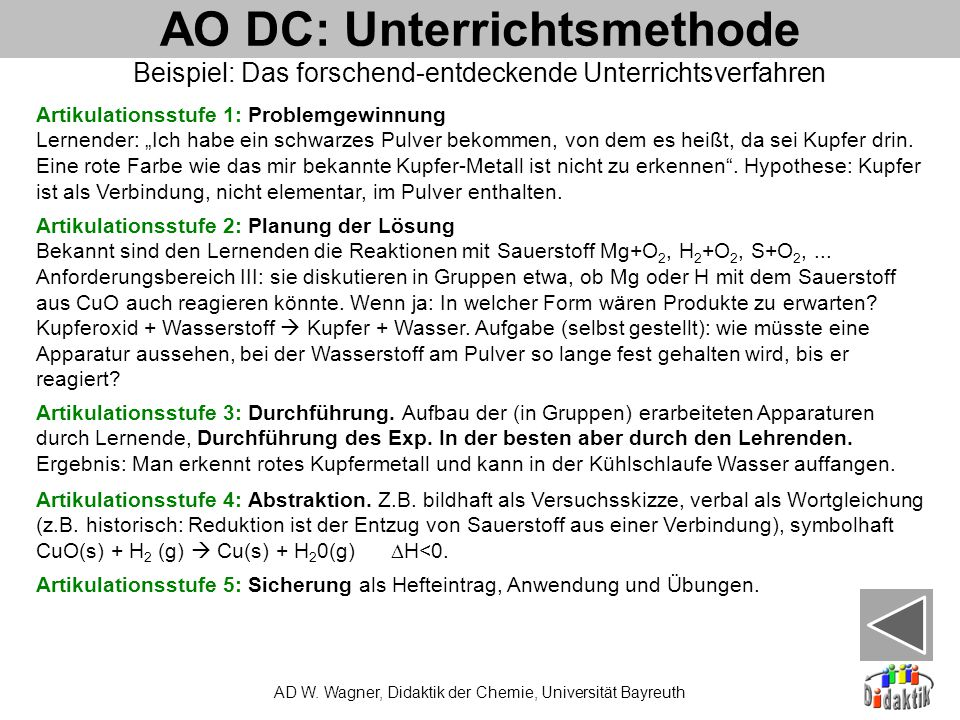 AO DC: Unterrichtsmethode