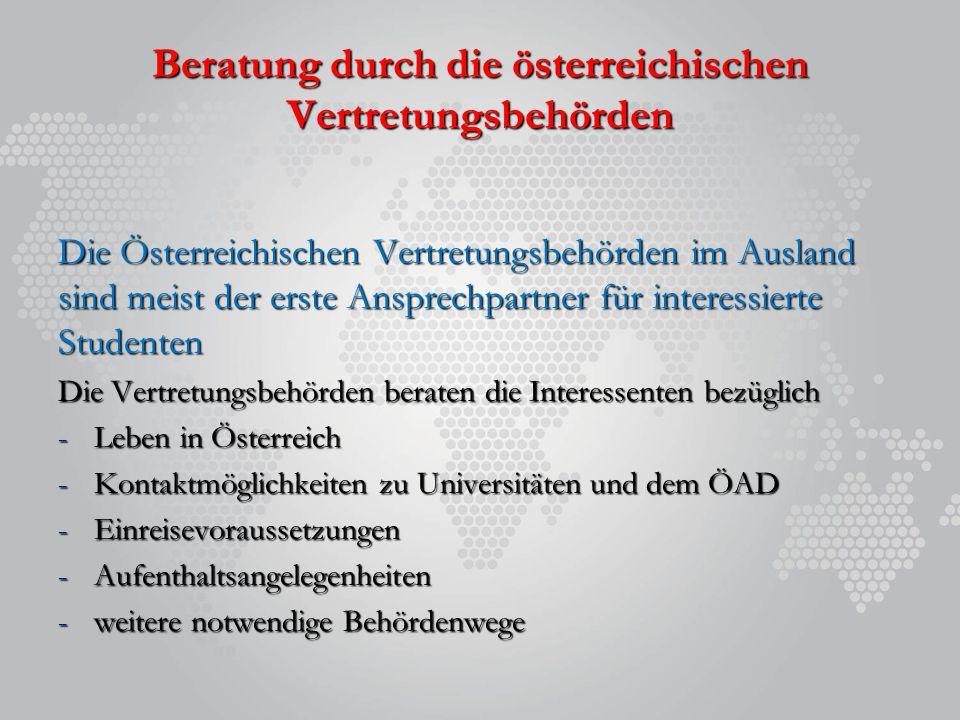 Beratung durch die österreichischen Vertretungsbehörden