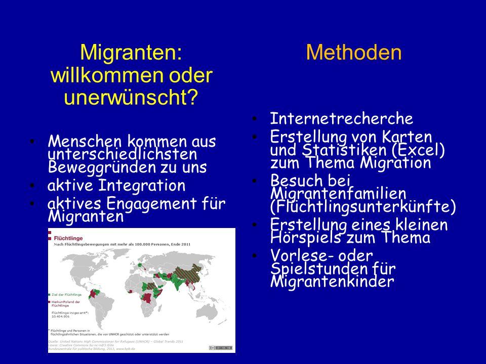 Migranten: willkommen oder unerwünscht Methoden Internetrecherche
